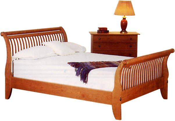 Spindle Sleigh Bed